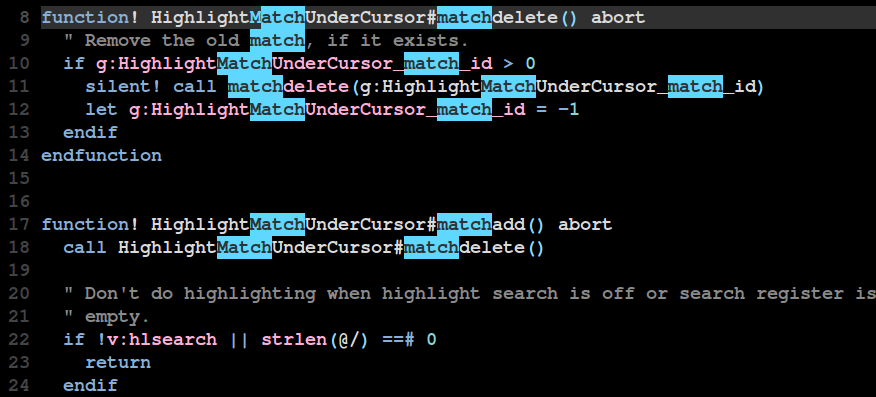 Example of search highlighting without the plugin.