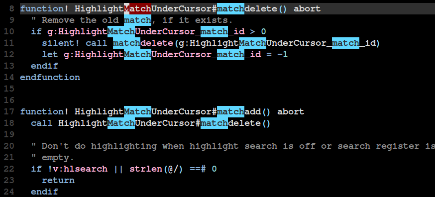 Example of search highlighting with the plugin.